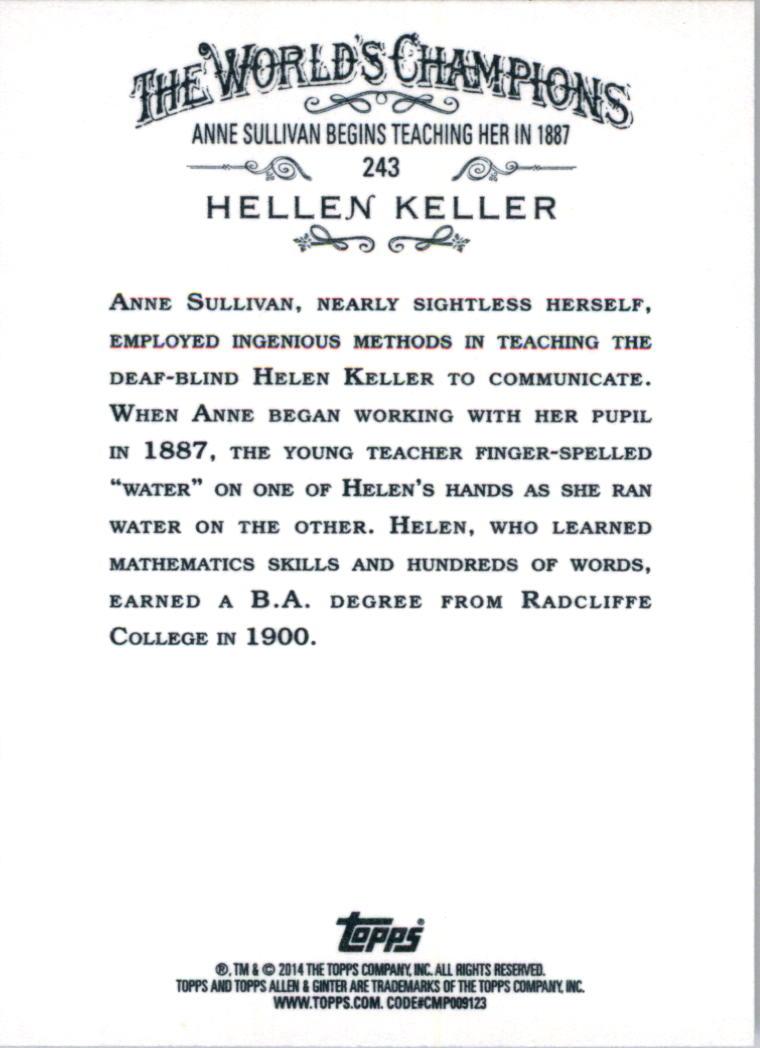 2014 Topps Allen and Ginter #243 Hellen Keller back image