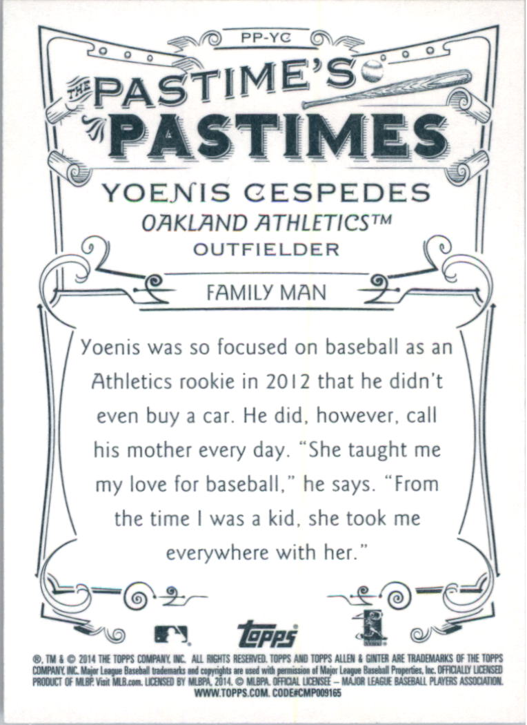 2014 Topps Allen and Ginter The Pastime's Pastime #PPYC Yoenis Cespedes back image