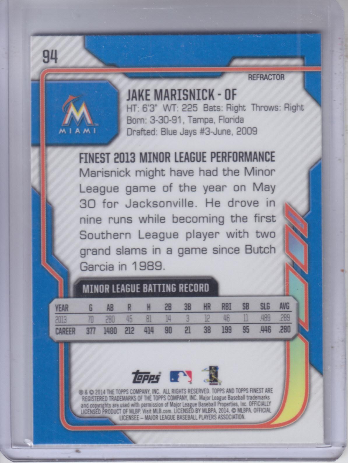 2014 Finest Refractors #94 Jake Marisnick back image