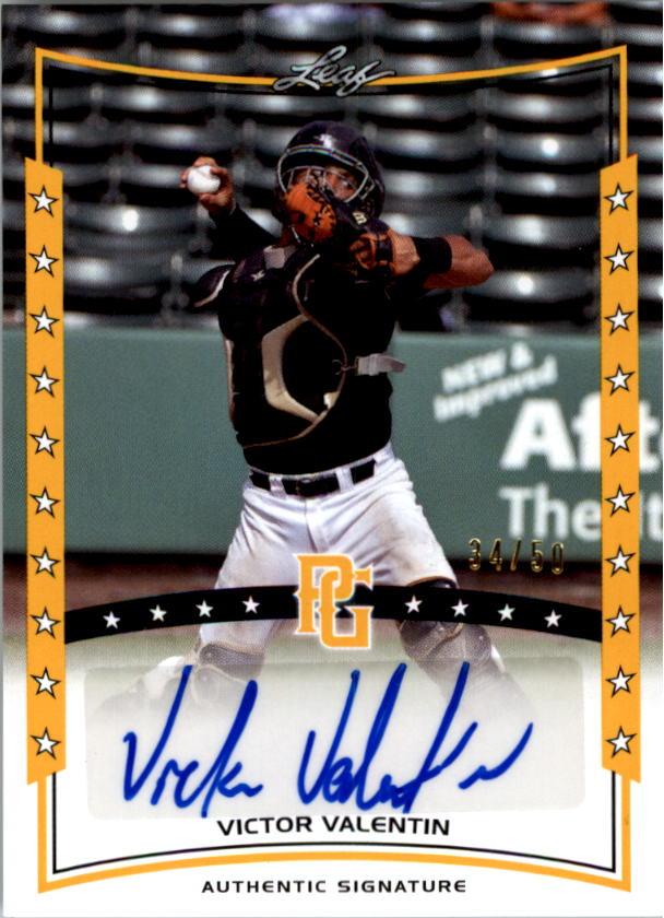 2014 Leaf Perfect Game Showcase Autographs Gold #AVV1 Victor Valentin/50