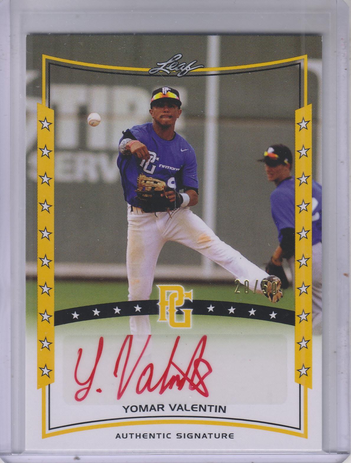 2014 Leaf Perfect Game Showcase Autographs Gold #AYV1 Yomar Valentin/50