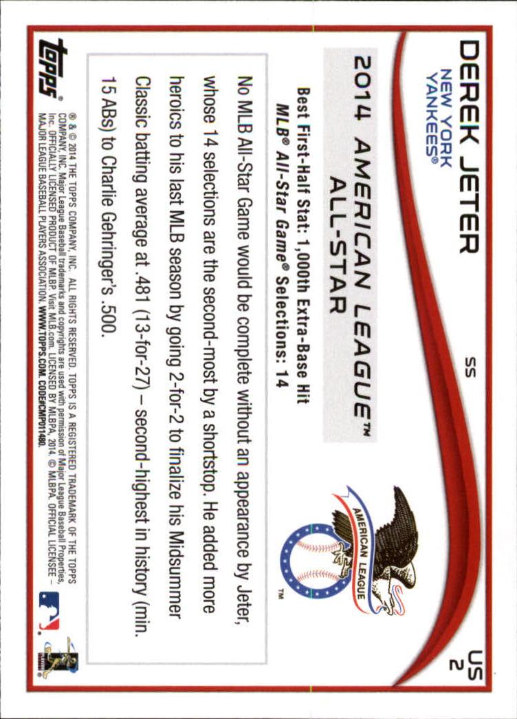 2014 Topps Update #US2 Derek Jeter back image