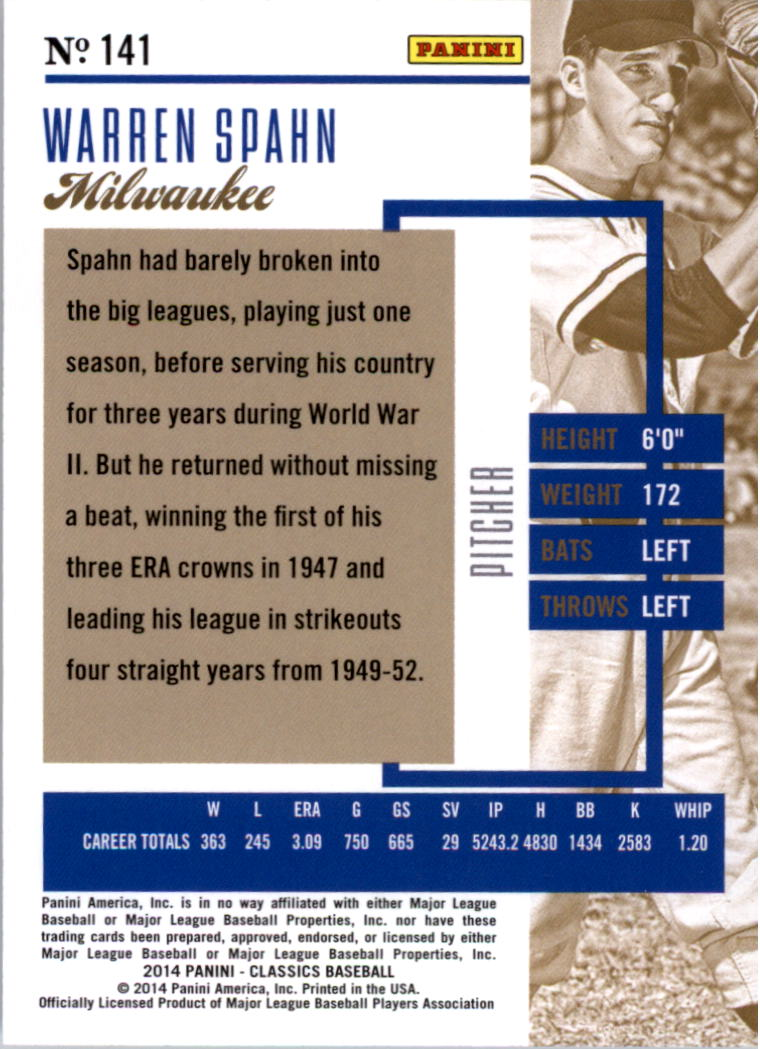 2014 Classics Timeless Tributes Silver #141 Warren Spahn back image