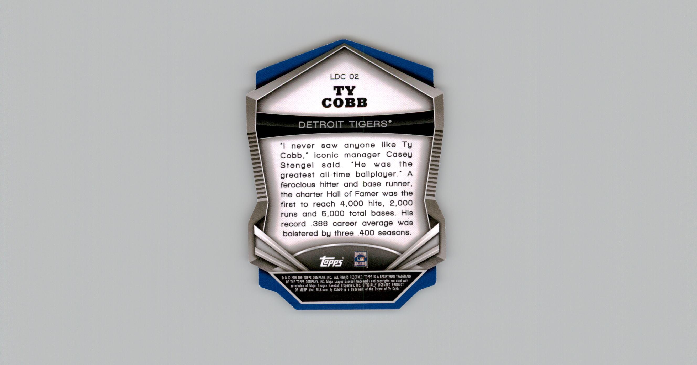 2015 Stadium Club Legends Die Cut #LDC02 Ty Cobb back image