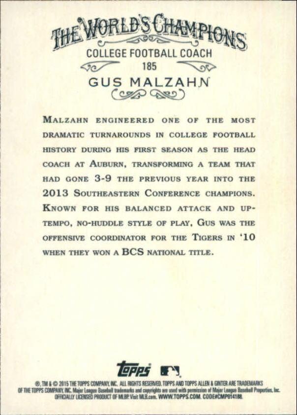 2015 Topps Allen and Ginter #185 Gus Malzahn back image