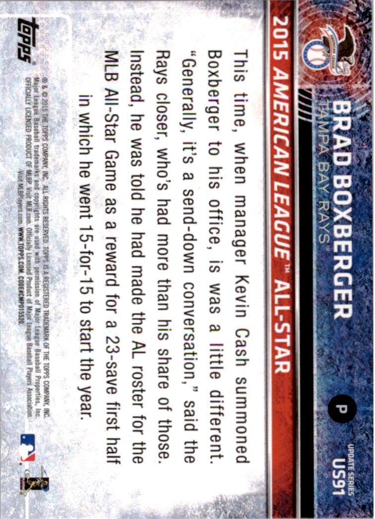 2015 Topps Update #US91 Brad Boxberger back image