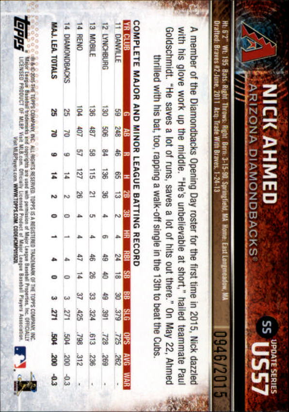 2015 Topps Update Gold #US57 Nick Ahmed back image