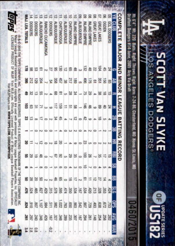 2015 Topps Update Gold #US182 Scott Van Slyke back image