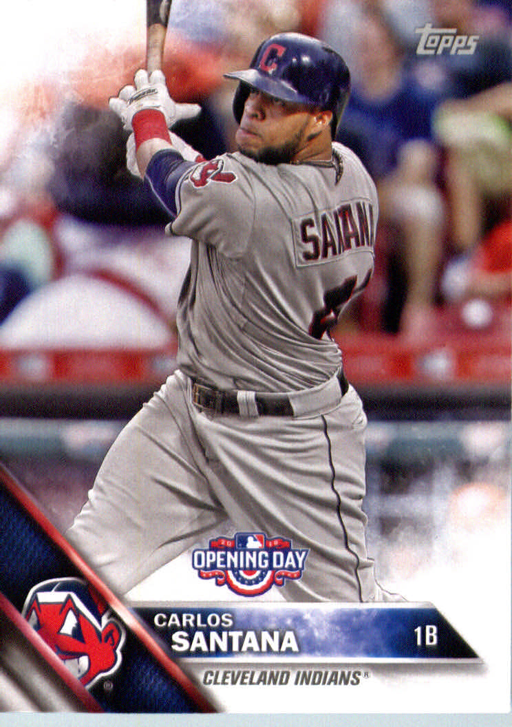 Details About 2016 Topps Opening Day Baseball Od3 Carlos Santana Cleveland Indians