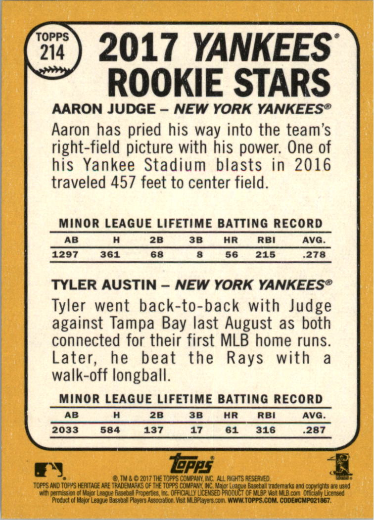 2017 Topps Heritage #214A Aaron Judge RC/Tyler Austin RC back image