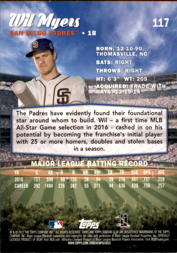 2017 Stadium Club #117A Wil Myers back image