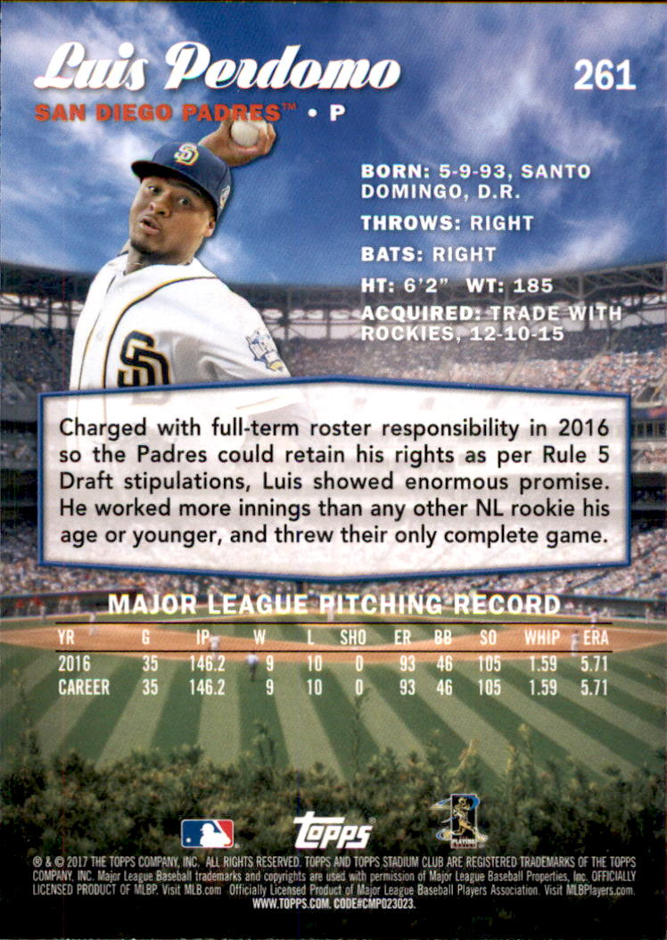 2017 Stadium Club #261 Luis Perdomo back image