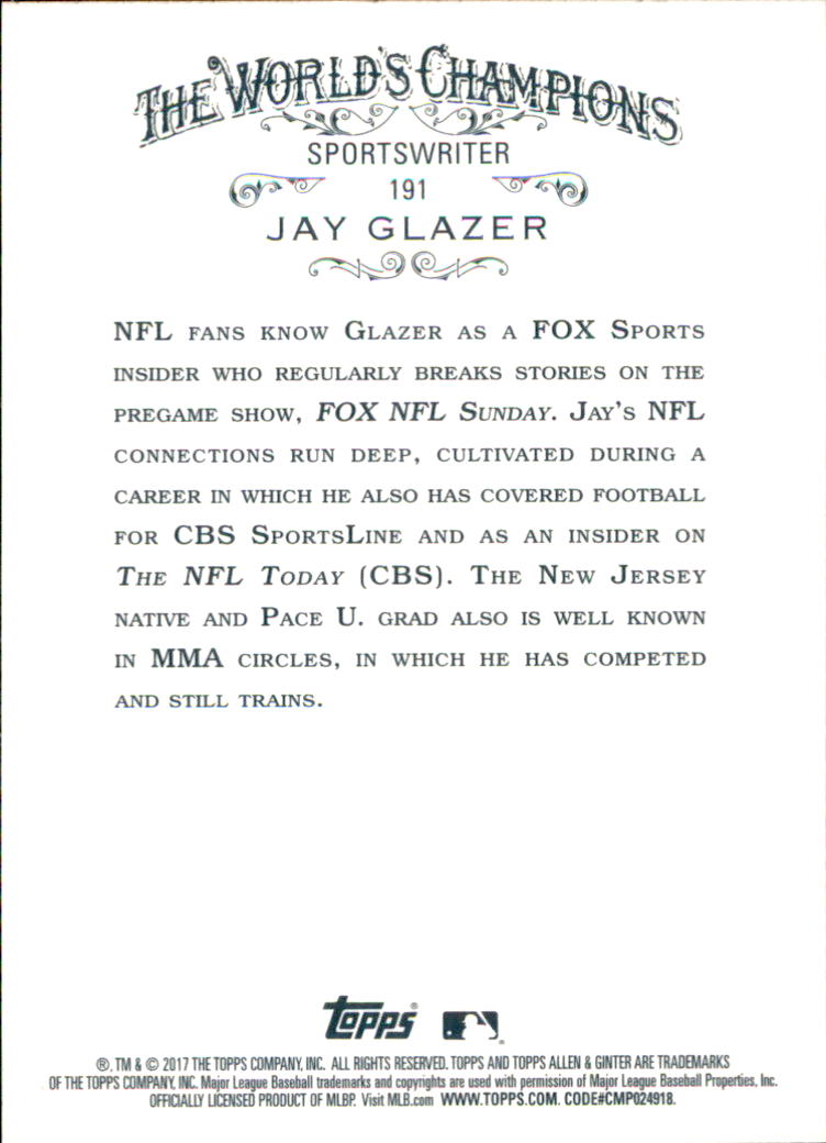 2017 Topps Allen and Ginter #191 Jay Glazer back image