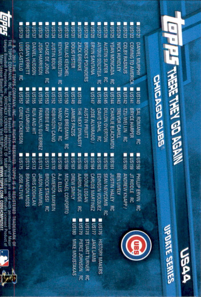 2017 Topps Update #US44 Chicago Cubs World Series Celebration back image