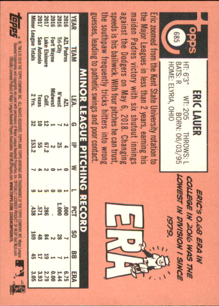 2018 Topps Heritage #685 Eric Lauer RC back image