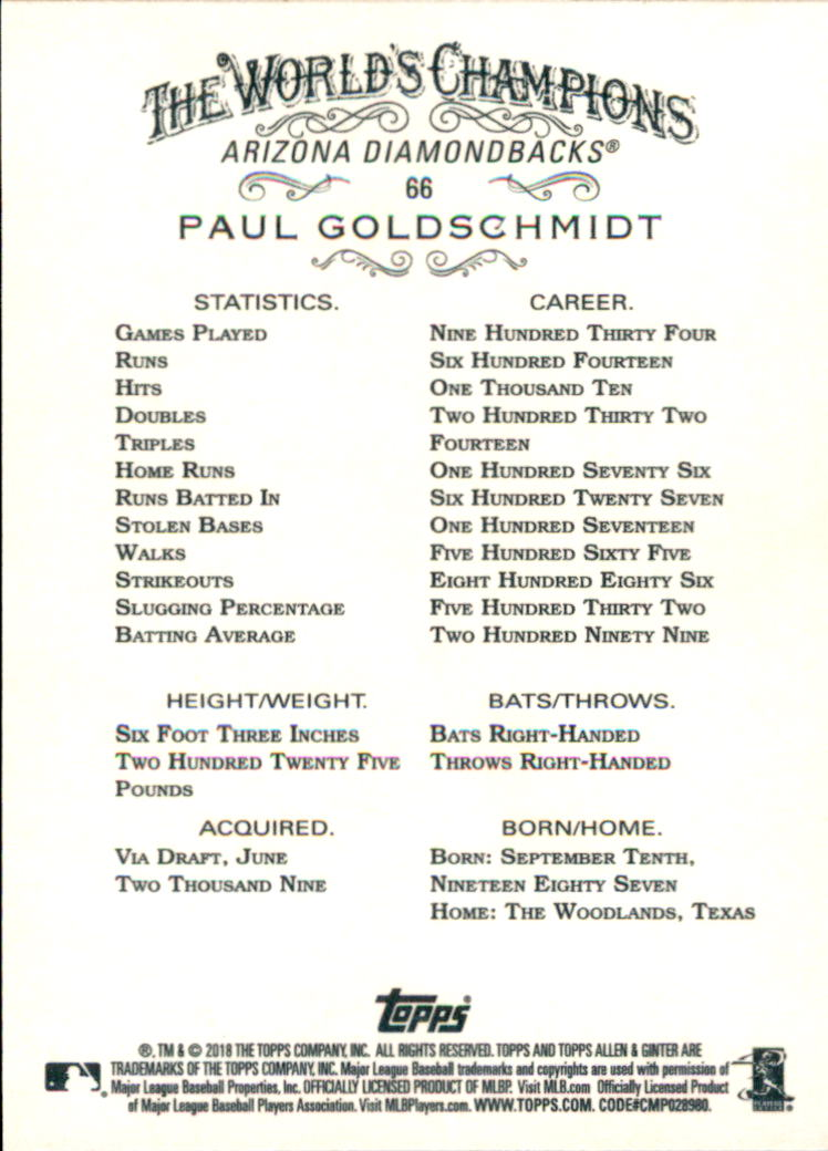 2018 Topps Allen and Ginter #66 Paul Goldschmidt back image