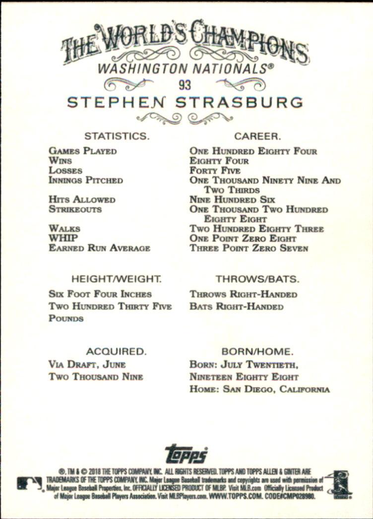 2018 Topps Allen and Ginter #93 Stephen Strasburg back image