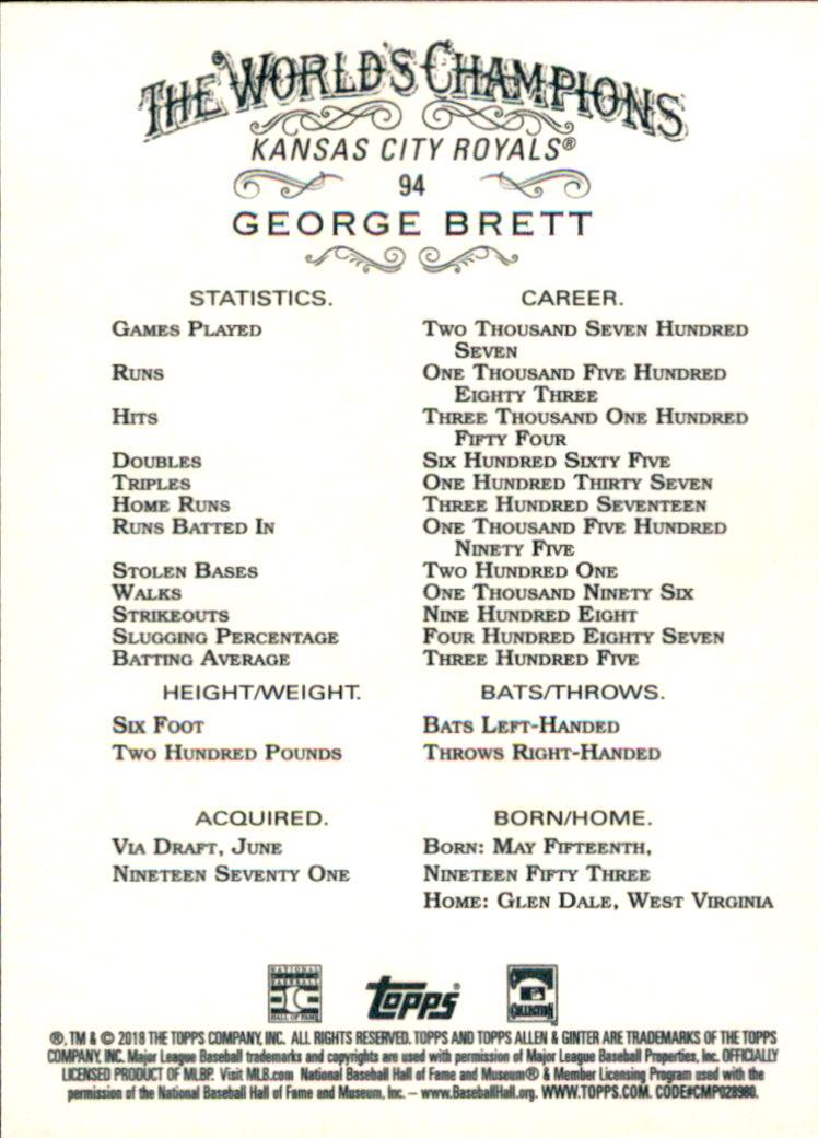 2018 Topps Allen and Ginter #94 George Brett back image