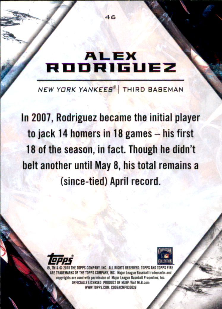 2018 Topps Fire #46 Alex Rodriguez back image