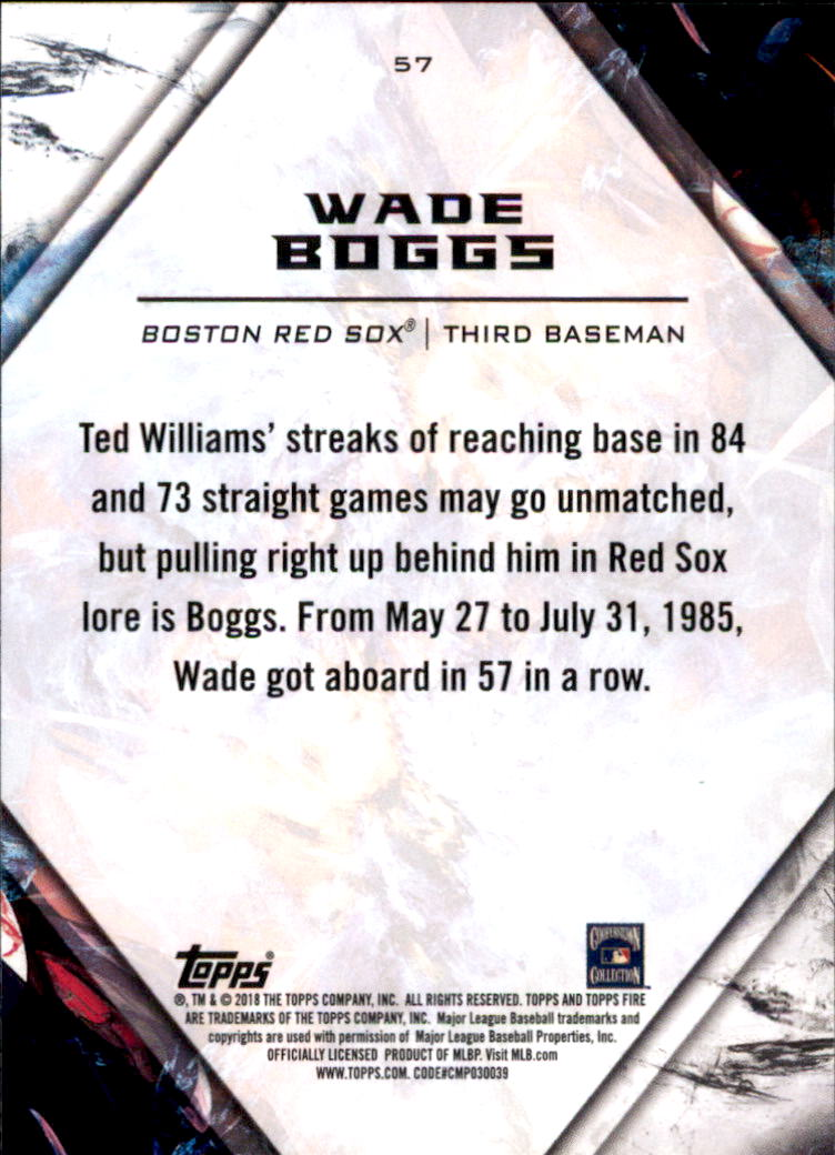 2018 Topps Fire #57 Wade Boggs back image