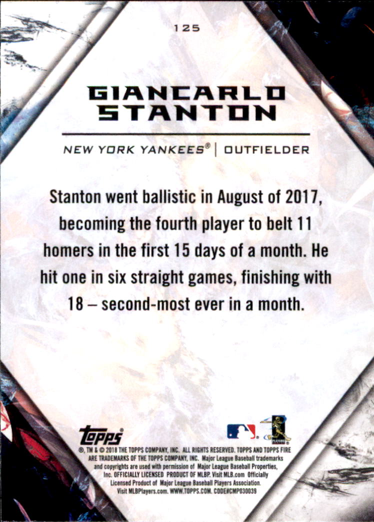 2018 Topps Fire #125 Giancarlo Stanton back image
