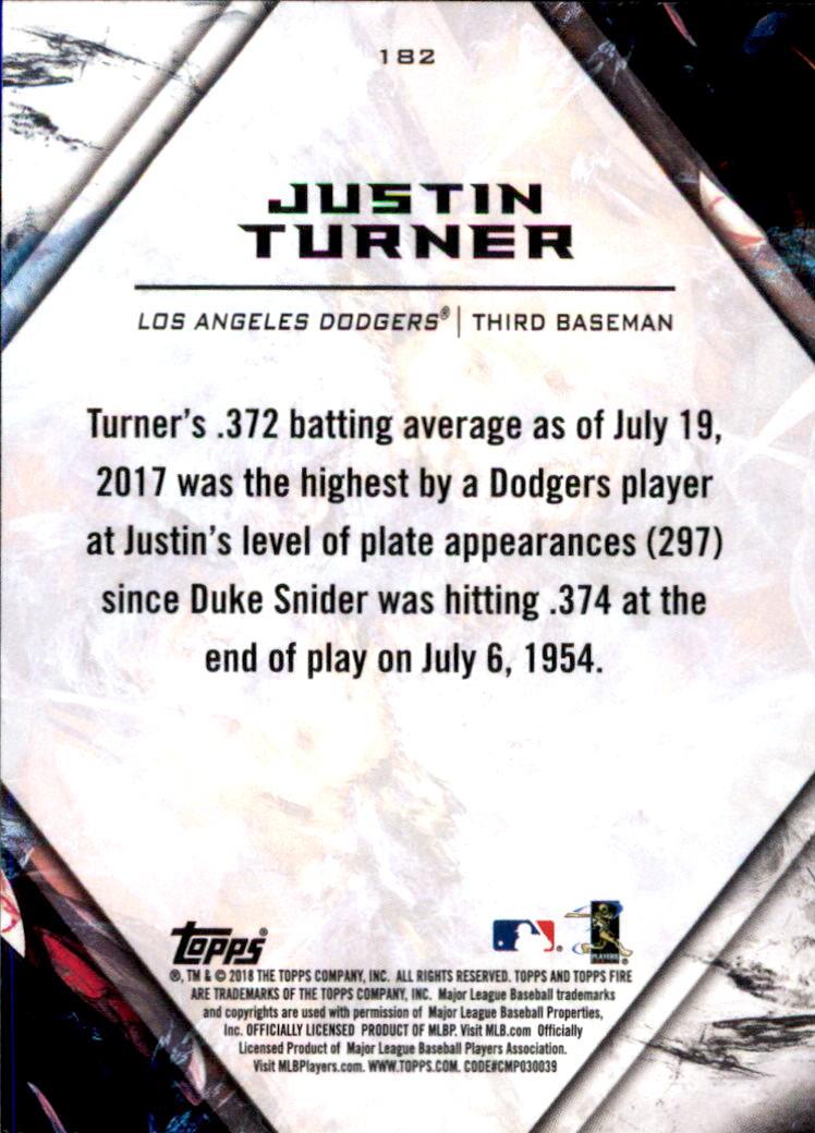 2018 Topps Fire #182 Justin Turner back image
