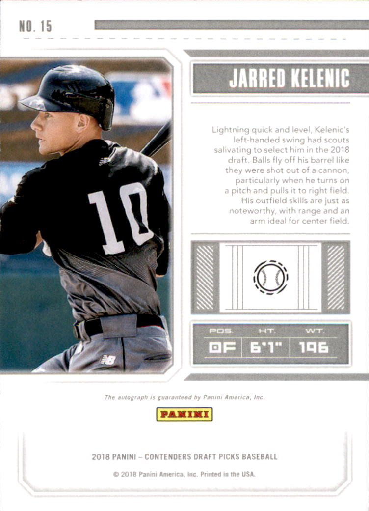2018 Panini Contenders Draft Picks Draft Ticket Autographs #15 Jarred Kelenic back image