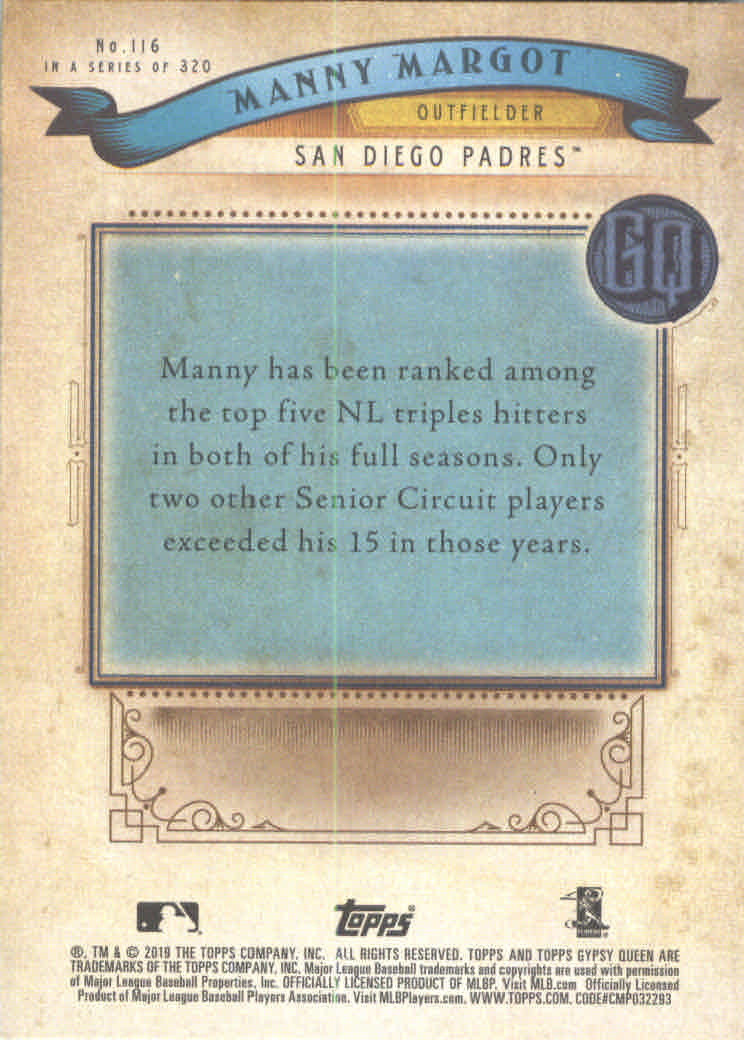2019 Topps Gypsy Queen #116 Manny Margot back image