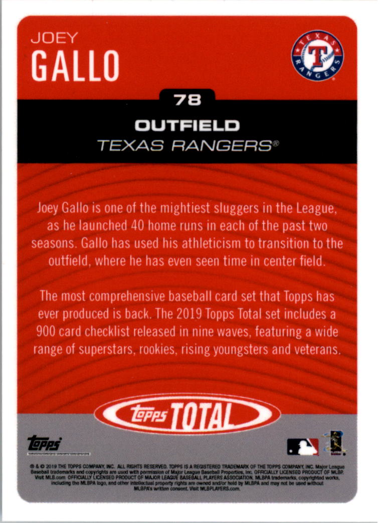 2019 Topps Total #78 Joey Gallo back image
