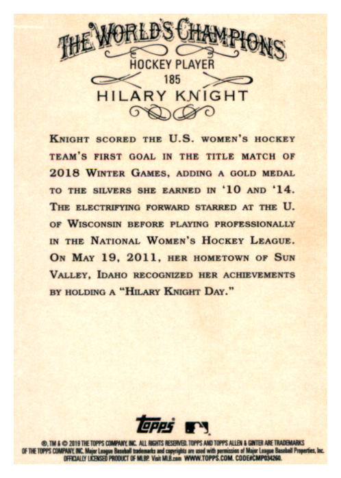 2019 Topps Allen and Ginter #185 Hilary Knight back image