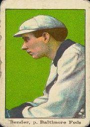 1915 American Caramel E106 #2B Chief Bender White Hat