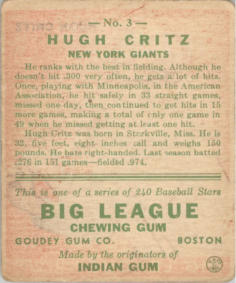 1933 Goudey #3 Hugh Critz BAT RC back image