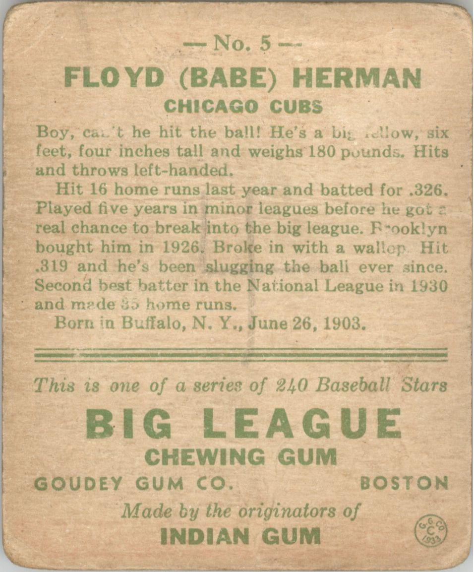 1933 Goudey #5 Babe Herman RC back image