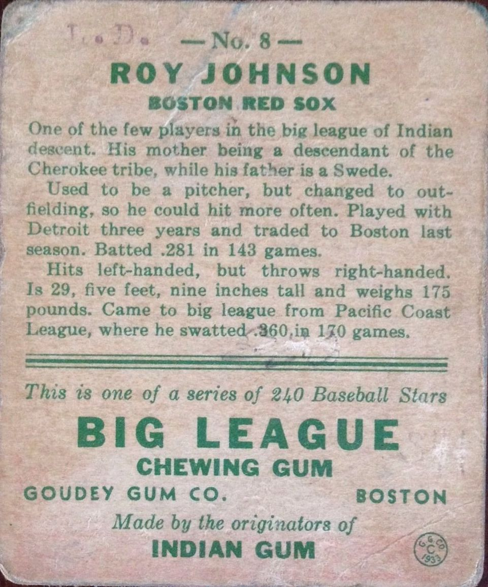1933 Goudey #8 Roy Johnson RC back image