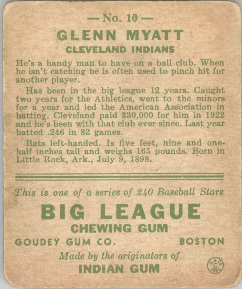 1933 Goudey #10 Glenn Myatt RC back image