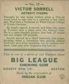 1933 Goudey #15 Victor Sorrell RC back image