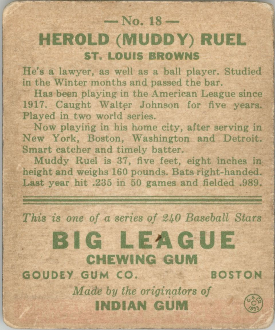 1933 Goudey #18 Muddy Ruel RC back image