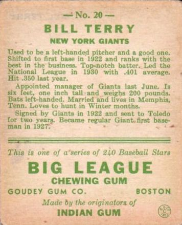 1933 Goudey #20 Bill Terry THROW RC back image