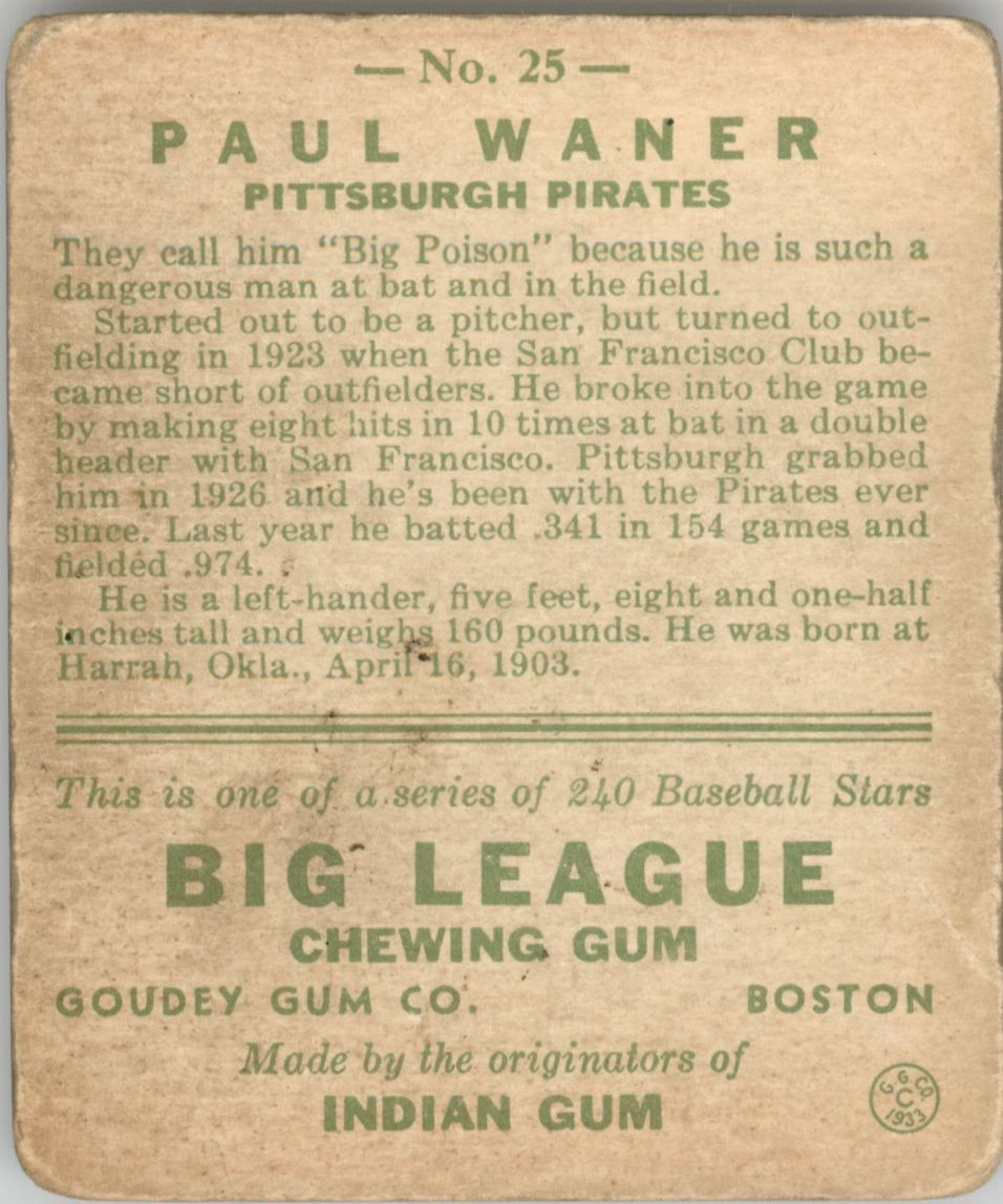1933 Goudey #25 Paul Waner RC back image