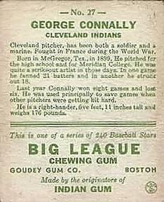 1933 Goudey #27 George Connally RC back image
