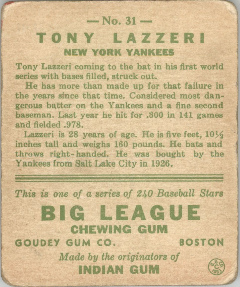 1933 Goudey #31 Tony Lazzeri RC back image