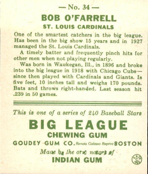 1933 Goudey #34 Bob O'Farrell RC back image