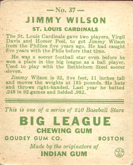 1933 Goudey #37 Jimmy Wilson RC back image