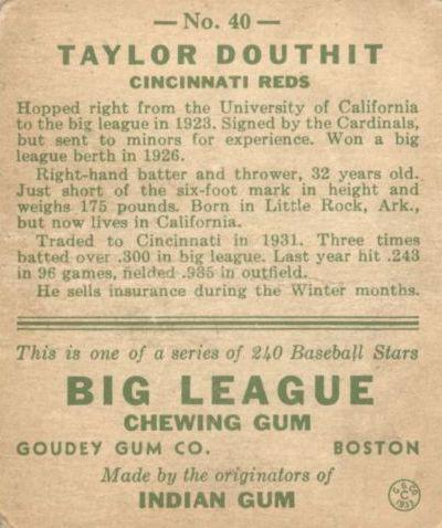 1933 Goudey #40 Taylor Douthit RC back image