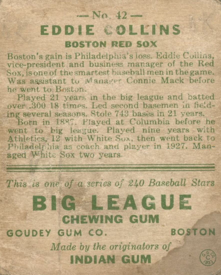 1933 Goudey #42 Eddie Collins RC back image