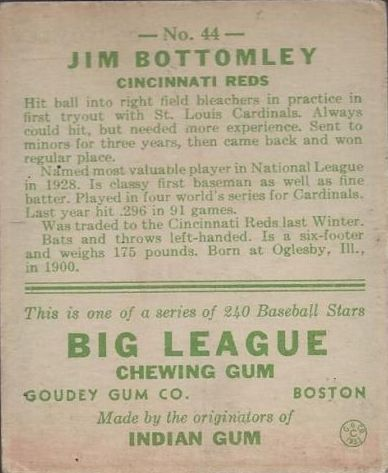 1933 Goudey #44 Jim Bottomley RC back image