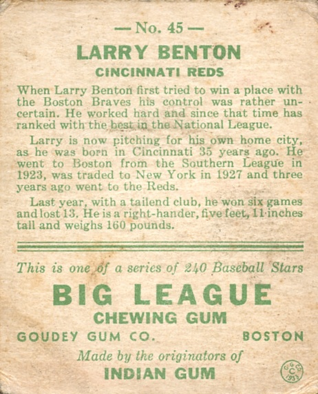 1933 Goudey #45 Larry Benton RC back image