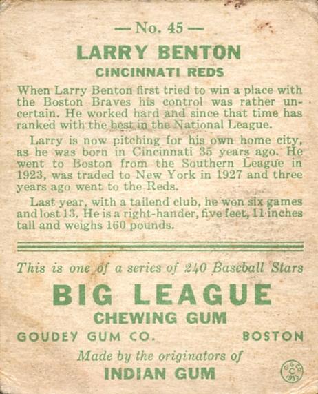 1933 Goudey #45 Larry Benton RC back image