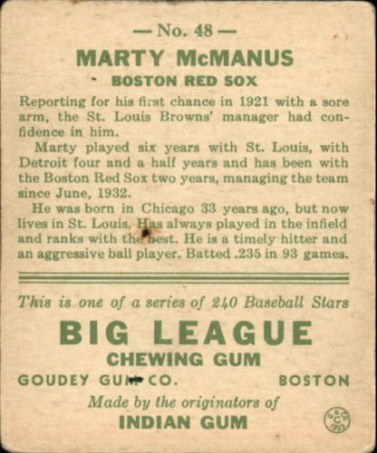 1933 Goudey #48 Marty McManus RC back image