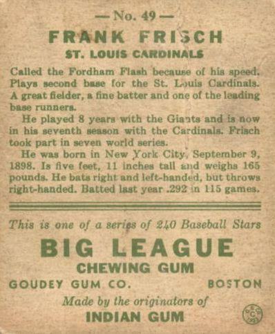 1933 Goudey #49 Frankie Frisch RC back image
